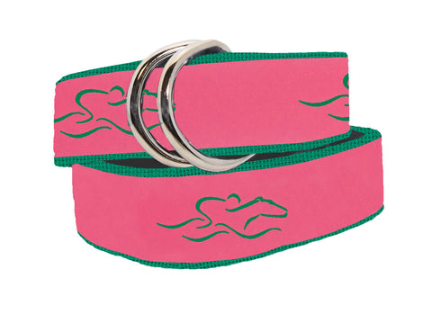 A womens signature ribbon belt featuring pink ribbon with our green icon stitched on a kelly green backing.