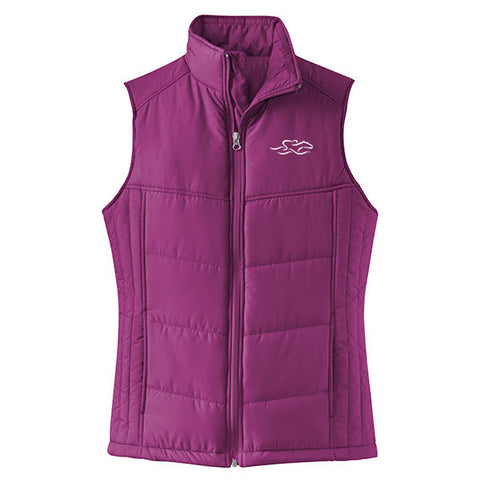 Equestrian Inspired Quilted Vest-Berry