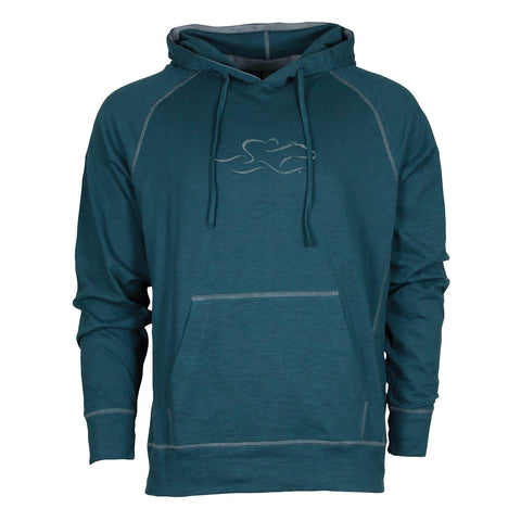This jade colored slub cotton hoodie is off set with contrasting trim around the hood, shoulders and kangaroo pouch.  Two layered flip up hood with 7 inch vintage EMBRACE THE RACE icon at center chest.