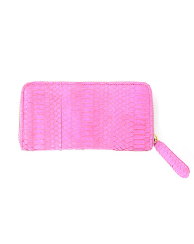 Angel Jackson Zip Around Wallet in Fuchsia Snakeskin