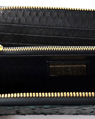 Angel Jackson Zip Around Wallet in Matte Black Snakeskin
