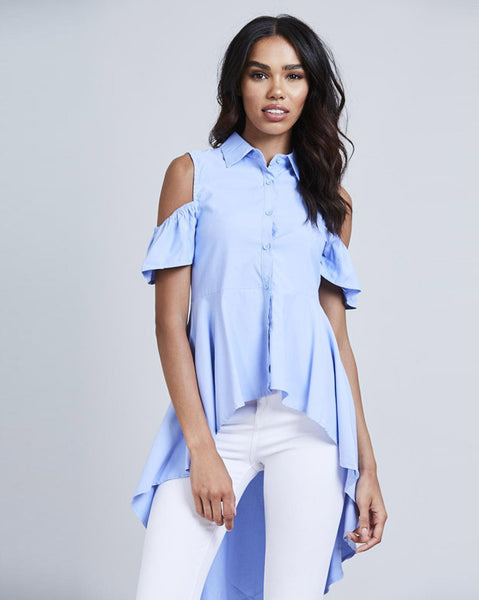 Anna High Low Blue Shirt