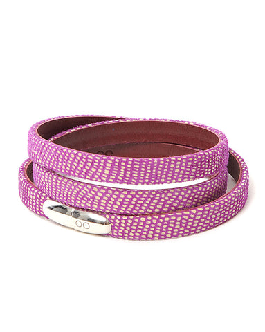Antonio Ben Chimol Nibiru Luxury Leather Bracelet In Fuchsia And Burgundy