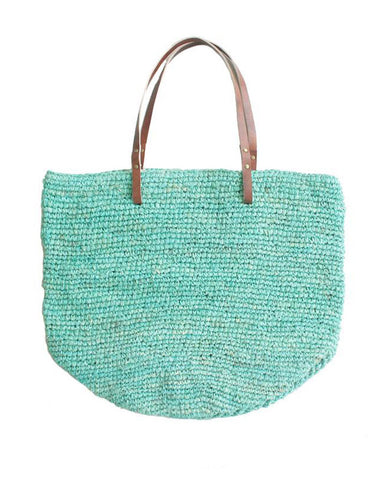 Aqua Straw Beach Bag