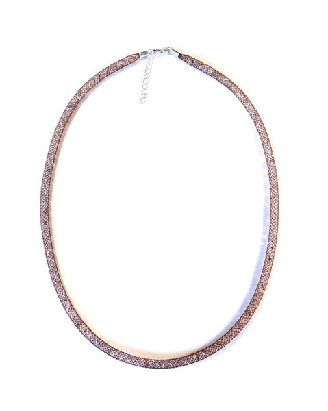 By Niya Dazzle Me Brown Mesh with Clear Crystal Necklace