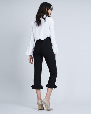 Black Frill Hem Trousers