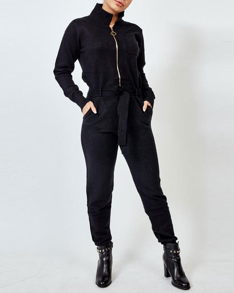 Black Knitted Tie Waist Jumpsuit