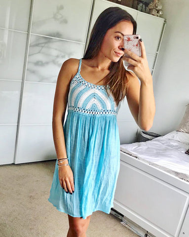 Amelia Blue Crochet Dress