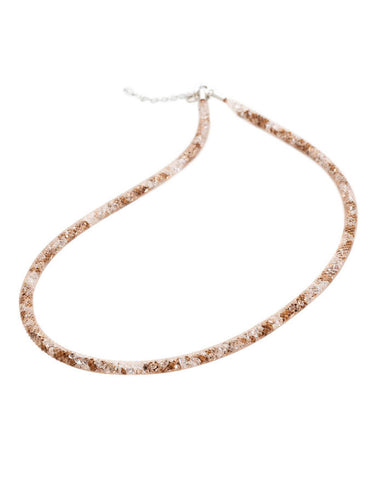 By Niya Dazzle Me Nude Mesh with Rose Gold Crystal Necklace