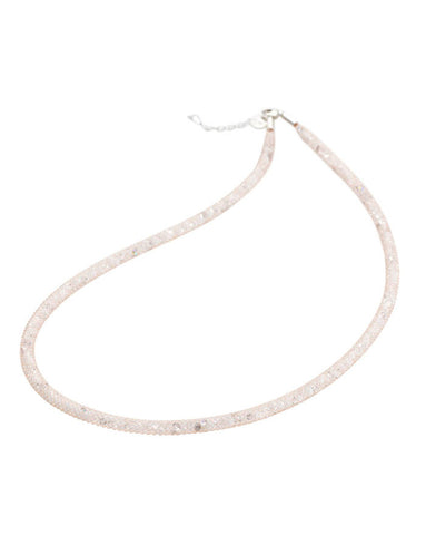 By Niya Dazzle Me Nude Mesh with White Bicone Clear and Rainbow Crystal Necklace
