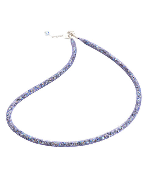 By Niya Dazzle Me Violet Mesh with Rainbow Crystal Necklace