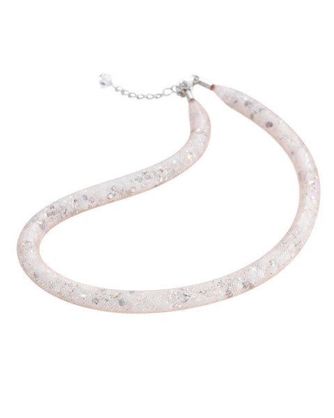 By Niya Flashbulb Fireflies Nude Mesh with White Clear and Rainbow Crystal Necklace