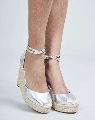 Cara Silver Studded Wedge Espadrilles