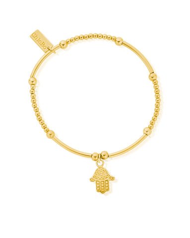 ChloBo Gold Cute Mini Decorated Hamsa Hand Bracelet