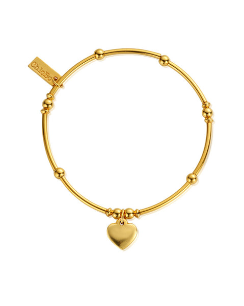 ChloBo Gold Cute Mini Noodle Heart Bracelet