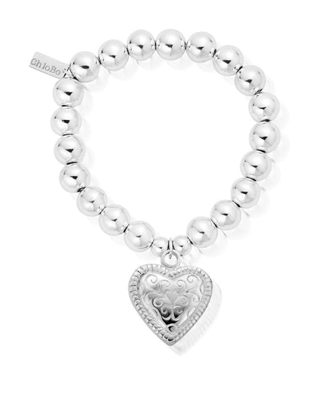 ChloBo Medium Ball Scallop Heart Bracelet