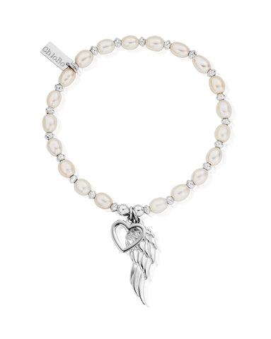 ChloBo Pearl Medium Disc Open Heart & Angel Wing Bracelet