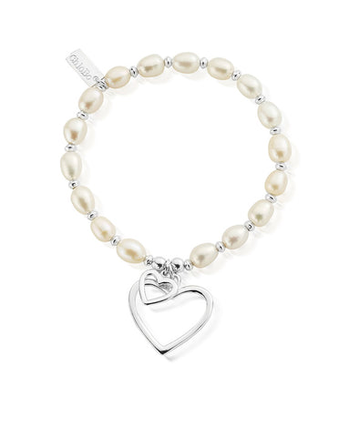 ChloBo Pearl Medium Disc Double Open Heart Bracelet