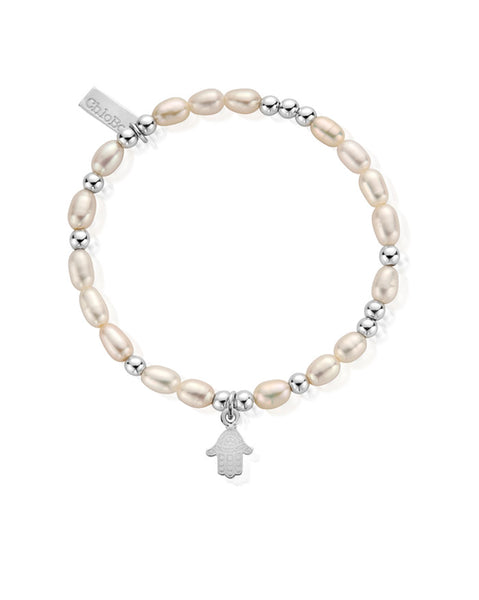ChloBo Pearl Mini Decorated Hamsa Hand Bracelet