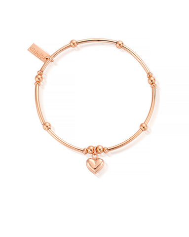 ChloBo Rose Gold Mini Noodle Puffed Heart Bracelet