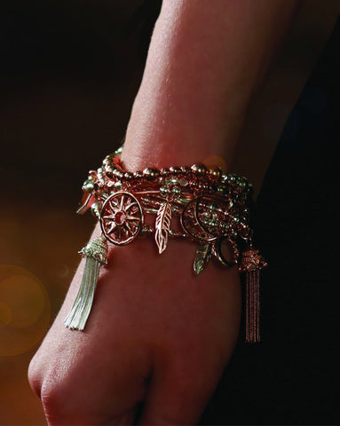 ChloBo Rose and Silver True Love Tassel Bracelet