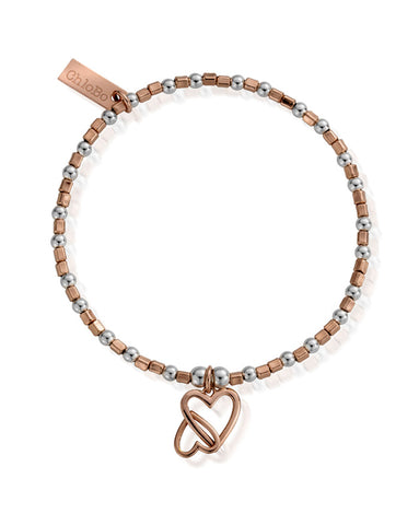ChloBo Rose and Silver Interlocking Love Heart Bracelet