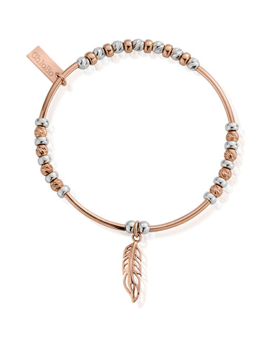 ChloBo Rose and Silver Sparkle Filigree Feather Bracelet