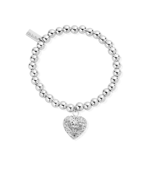 ChloBo Small Ball Filigree Heart Bracelet