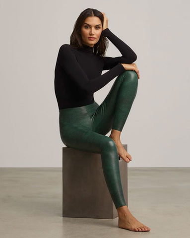 Commando Faux Leather Leggings in Green Croc