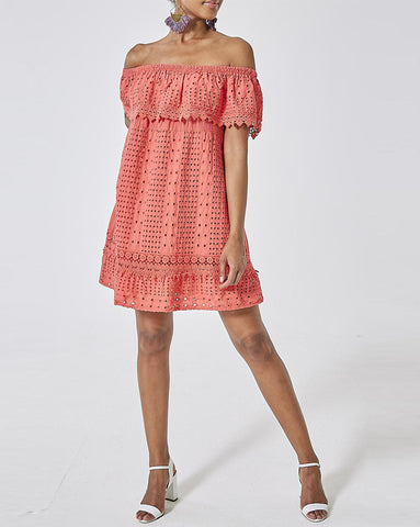Coral Bardot Crochet Sundress