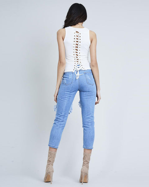 Cream Lace Up Back Top