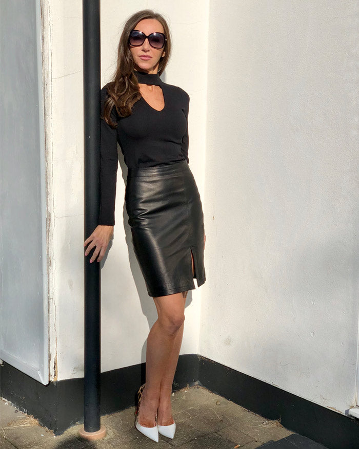 Fannie Porters Cassidy Black Leather Skirt   My Violet Hill