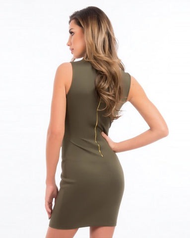 Forever Unique Vie Khaki Bodycon Dress
