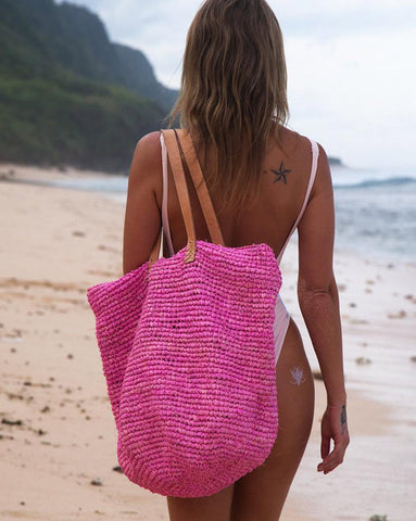 Hot Pink Straw Beach Bag