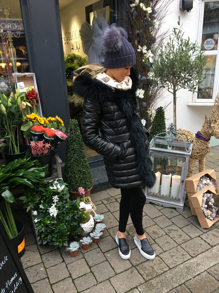 Dark Grey Double Pom Pom Hat