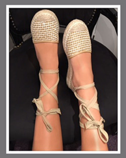 Gold Lace Up Espadrille