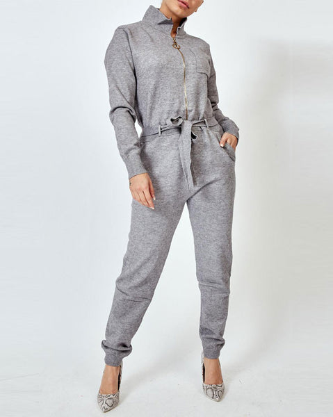 Grey Knitted Tie Waist Jumpsuit