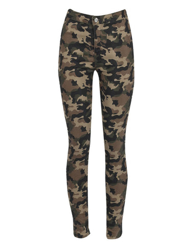 High Waisted Camouflage Jeans