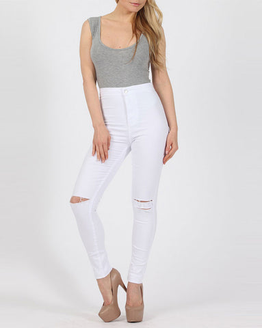 High Waisted White Ripped Skinny Jeans
