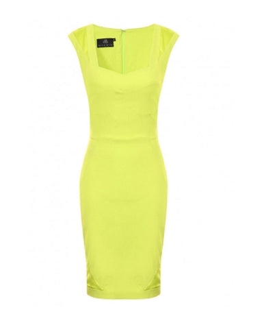Hybrid Hannah Bodycon Dress with Satin Detail in Lime