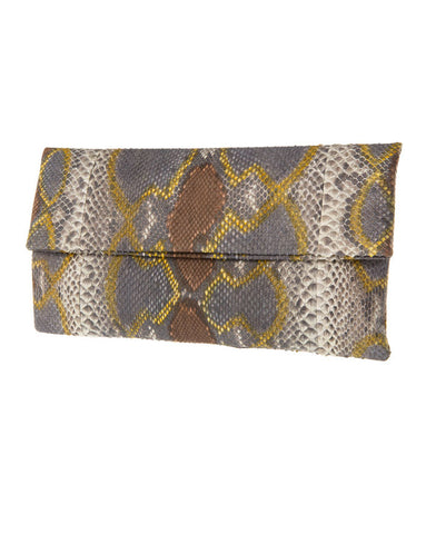 Katja Tamara Multicoloured Brown Python Leather Clutch
