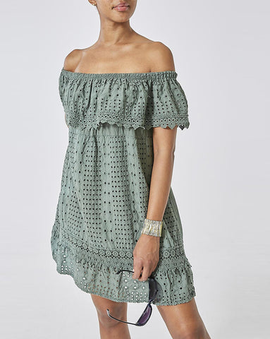 Khaki Bardot Crochet Sundress