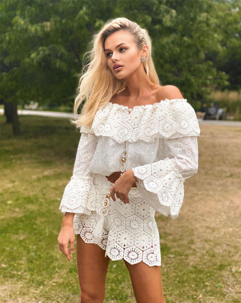 Laurie & Joe Boule Crochet Top in White