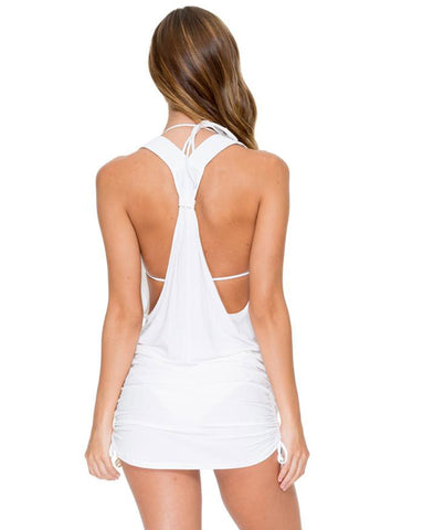 Luli Fama Cosita Buena T Back Mini Dress in White