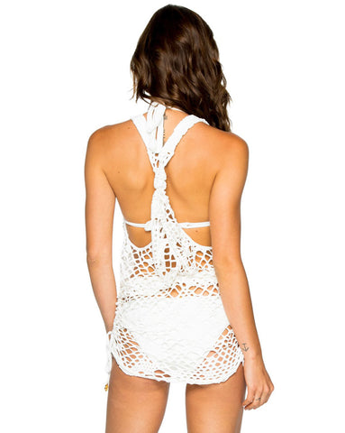 Luli Fama La Cabana White T Back Mini Dress