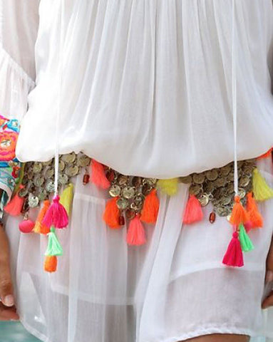 Miss June Neon Tassel Belt