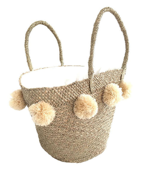 Natural Pom Pom Bag in Cream