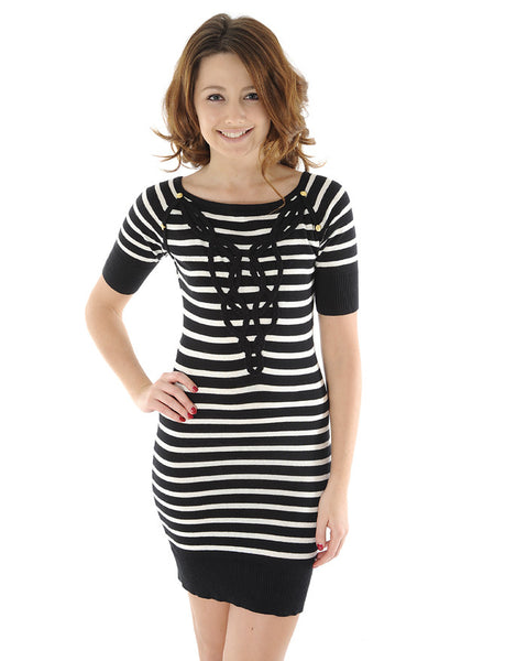 Odemai Black and Cream Striped Dress