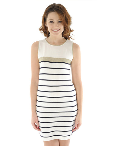 Odemai Cream and Navy Shift Dress