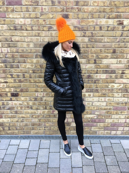 Orange Single Pom Pom Hat